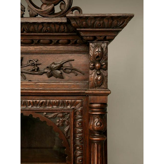 Mid 19th Century Antique French Carved Oak Hunt Cabinet For Sale - Image 5 of 10