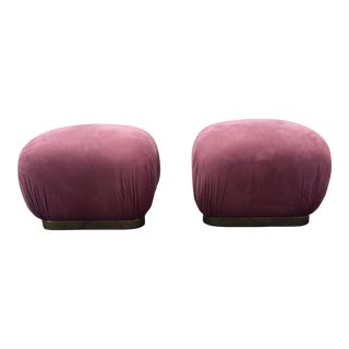 1970s Mid-Century Modern Karl Springer Style Shuffle' Poufs - a Pair For Sale