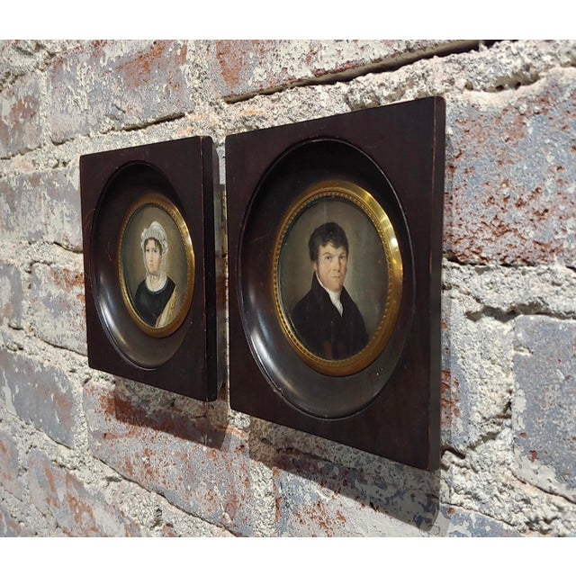 Paint 18th Century English School Husband & Wife Portraits Miniature Paintings - a Pair For Sale - Image 7 of 10
