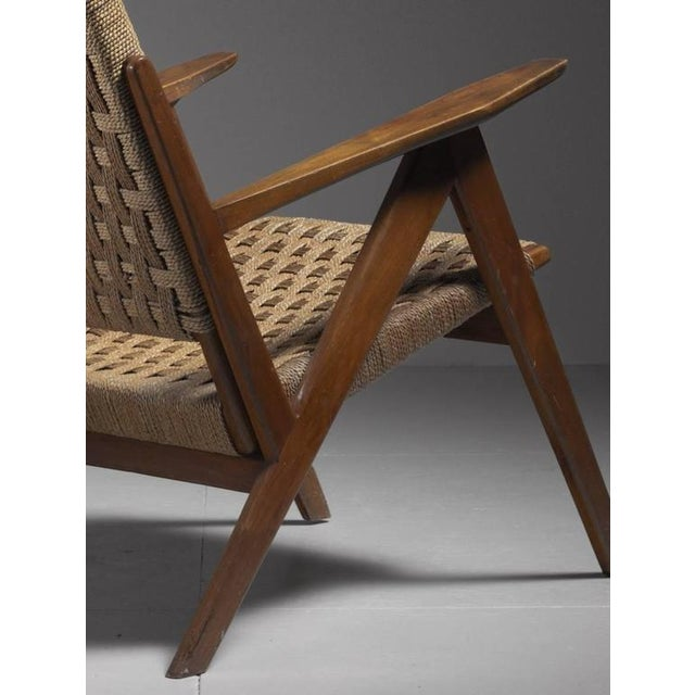 Georg Jensen High Back Mahogany and Rope Lounge Chair, 1967s For Sale - Image 5 of 6
