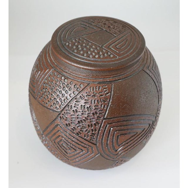 Brown 1980s J Chin Incised Pottery Jar For Sale - Image 8 of 8