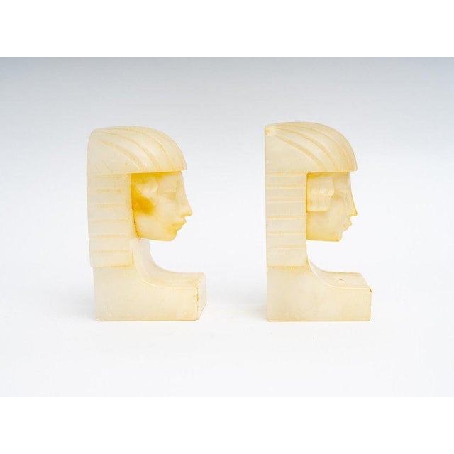 Art Deco Egyptian Revival Art Deco Alabaster Bookends - a Pair For Sale - Image 3 of 11