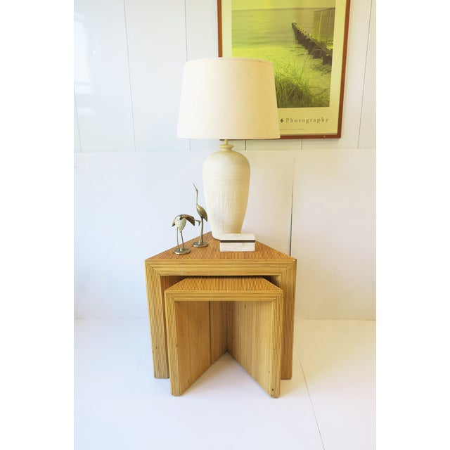 Wicker Wicker Rattan Pencil Reed End Tables Nesting Tables For Sale - Image 7 of 13