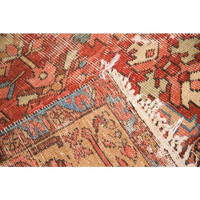 "1910s Antique Distressed Heriz Carpet - 9'7"" x 12'2"" For Sale - Image 5 of 7"