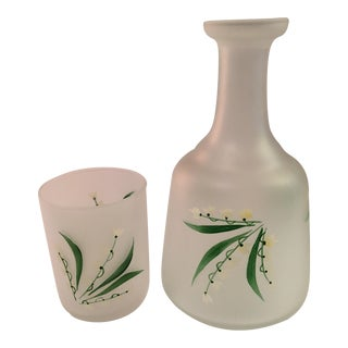 Lily of the Valley-Portugal Hand Painted Frosted Bedside Carafe With Glass - 2 Pieces For Sale
