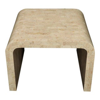 Tessellated Stone Veneer C Shape Side Coffee End Table For Sale