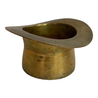 Vintage 1950s Brass Top Hat for Champagne Bottle For Sale
