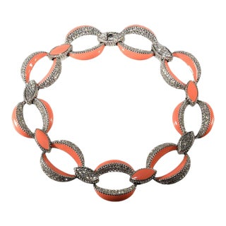 Ciner Peach Enamel and Clear Rhinestones Necklace For Sale