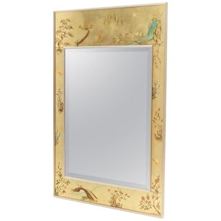La Barge Reverse Painted Gold Leaf Rectangular Frame Decorative Mirror For Sale