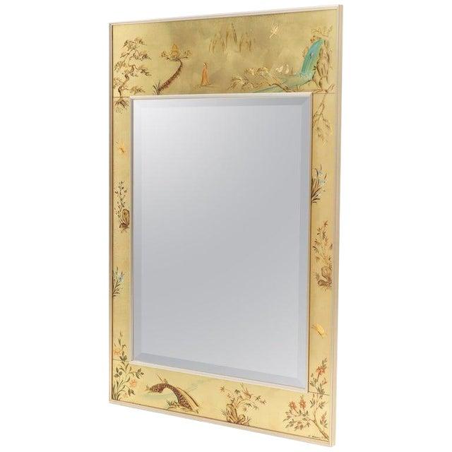 La Barge Reverse Painted Gold Leaf Rectangular Frame Decorative Mirror For Sale