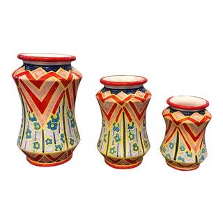 2019 Sicilian Unique Pieces Hand Painted Terracotta Albarello Vases - Set of Three For Sale