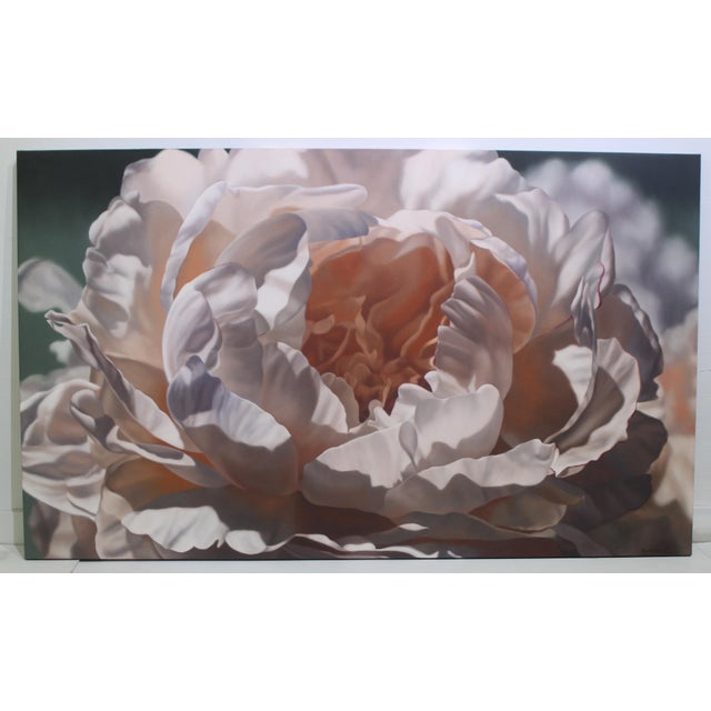 """This stylish and beautiful oil on canvas is titled """"Pale Peony"""" and is by the American artist Winifred Godfrey and the..."""