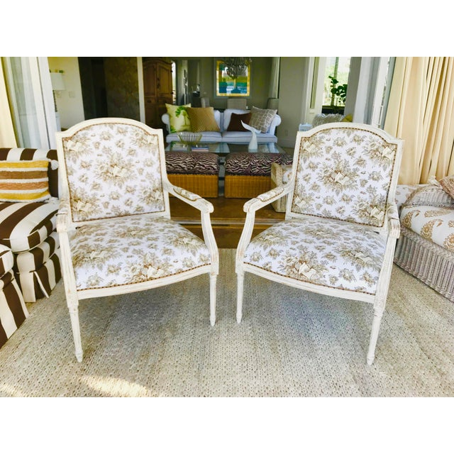 1990s 1990s Vintage Gustavian in Scalamandre Fabric Chic Distressed Side Chairs- a Pair For Sale - Image 5 of 8