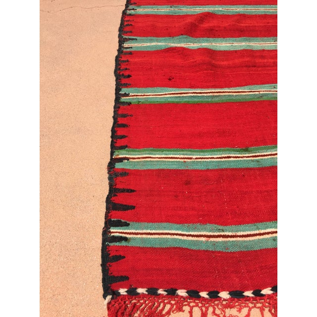 Black Moroccan Vintage Flat-Weave Rug For Sale - Image 8 of 9