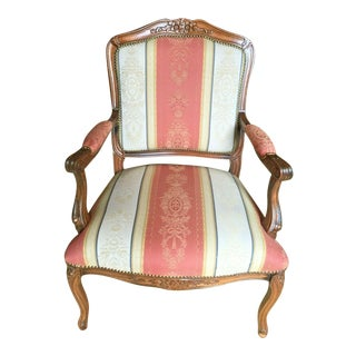 Traditional Hand-Carved Italian Walnut Armchair With Brocade Upholstery For Sale