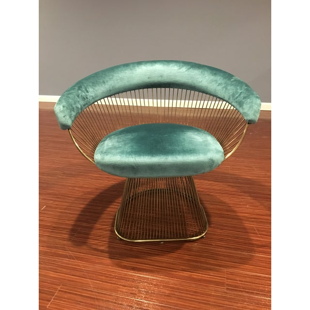 Mid-Century Modern Modern Gold Warren Platner Style Silk Velvet Upholstered Dining Chairs - Set of 6 For Sale - Image 3 of 5