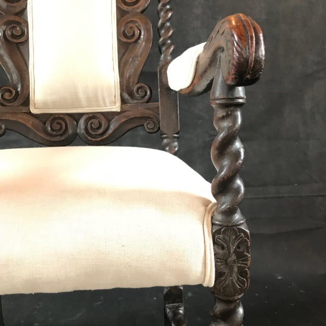 18th Century Vintage Carved Oak Jacobean Arm Chair For Sale - Image 9 of 10