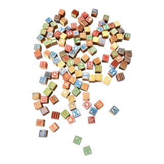 Early 20th Century Vintage Toy Alphabet Blocks 120 Piece - Set of 120 For Sale