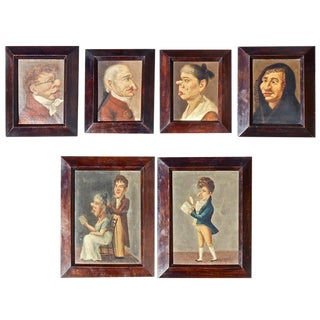 Rare Six Early 19th Century Caricature Portrait Paintings of Spanish Actors For Sale