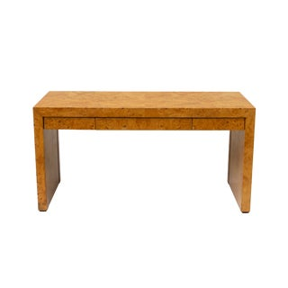 Burlwood Parsons Writing Desk or Console by Hekman For Sale