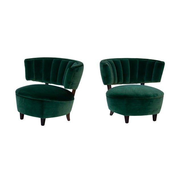 Pair of Emerald Green Velvet Channel Back Chairs After Billy Haines For Sale - Image 6 of 12