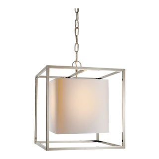 Modern Silver/Polished Nickel Chain Mounted Lantern Ceiling Light by Visual Comfort For Sale