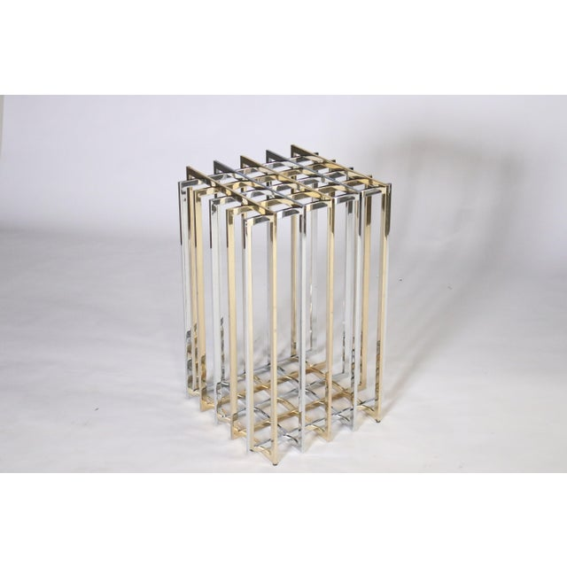 Pierre Cardin Mixed Chrome and Brass Grid Table For Sale - Image 10 of 10