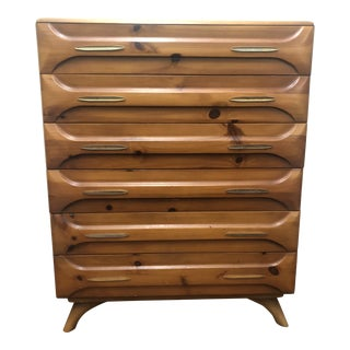 1960s Mid Century Sculpted Pine Highboy Dresser by Franklin Shockey For Sale