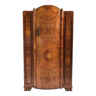1940's Vintage Art Deco Burl Wood Armoire For Sale