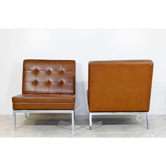Metal Mid Century Modern Pair Vintage Knoll Chrome Leather Slipper Chairs Model #65 For Sale - Image 7 of 10