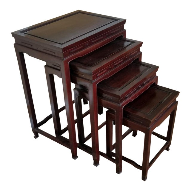 Set 4 Late 20th Century Asian Chinese Teak Stacking Nesting Tables For Sale