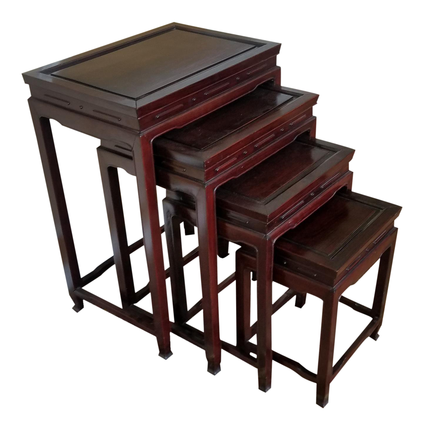 Set 4 Late 20th Century Asian Chinese Teak Stacking Nesting Tables