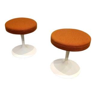 Pair of 1970's Eero Saarinen for Knoll Tulip Stools Orange Fabric For Sale