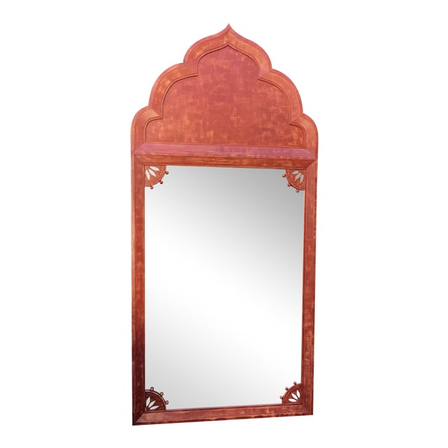 Huge Mid 20th Century Tony Duquette Red Bombay India Mirror For Sale