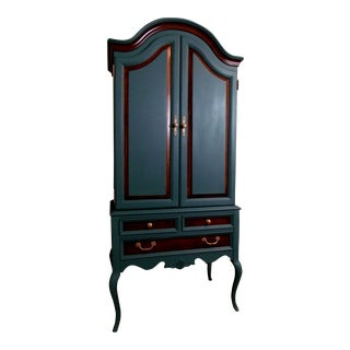 "2010s Abstract Thomasville ""In the Lines"" Teal Wood Armoire"