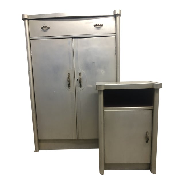20th Century Art Deco Aluminum Nightstand and Highboy - 2 Pieces For Sale