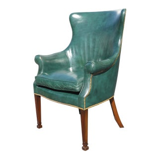 Vintage Traditional Style Green Leather Accent Cigar Chair W Decorative Nails