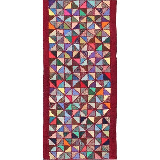 Bright and Multi Colors Vintage American Hooked Rug With Checkerboard Design For Sale