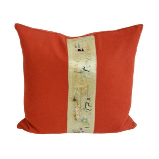 1940s Chinese Embroidery Silk Decorated Pillow - 18ʺW × 18ʺH For Sale