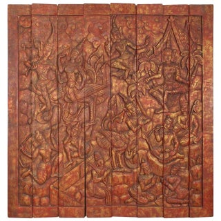 Antique Monumental Asian Hand-Carved Wooden Decorative Panel For Sale