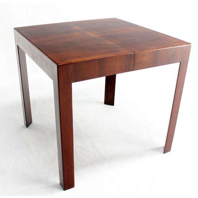 Oiled Walnut Italian Mid-Century Modern Game or Dining Table with One Leaf For Sale - Image 4 of 8