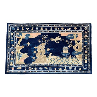 Antique 1910s Blue Chinese Pictorial Rug- 5′ × 8′ For Sale