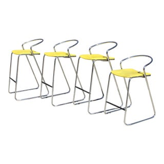 Italian Bar Stools & 1 Counter Stool in Polished Chrome by Hank Loewenstein - Set of 4