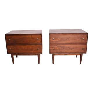 Mid-Century Modern Walnut Nightstands by Stanley - a Pair For Sale