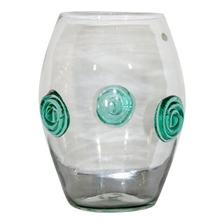 Blenko Mid-Century Modern Clear Handcrafted Glass Vase For Sale