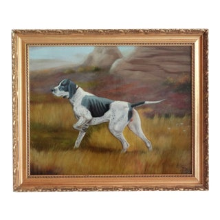 Sporting Hunting Dog Oil Painting English School For Sale