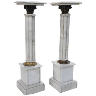 Early 20th Century Pair of Marble Pedestals With Bronze Details For Sale