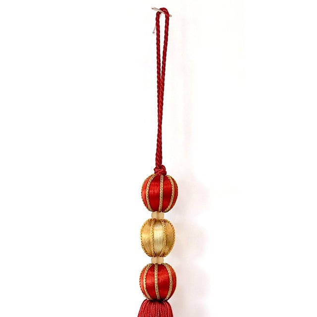 """2020s Beaded Key Tassel in Red & Gold - 7.5"""" For Sale - Image 5 of 8"""