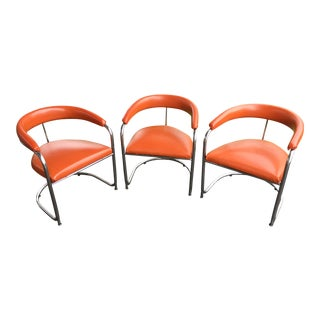 1960s Mid Century Modern Shelby Williams Orange Cantilever Side Chairs - Set of 3