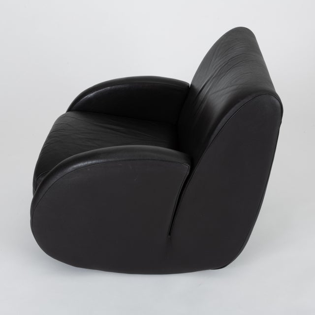 "Black ""Rock Star"" Leather Rocking Chair by Vladimir Kagan for American Leather For Sale - Image 8 of 12"